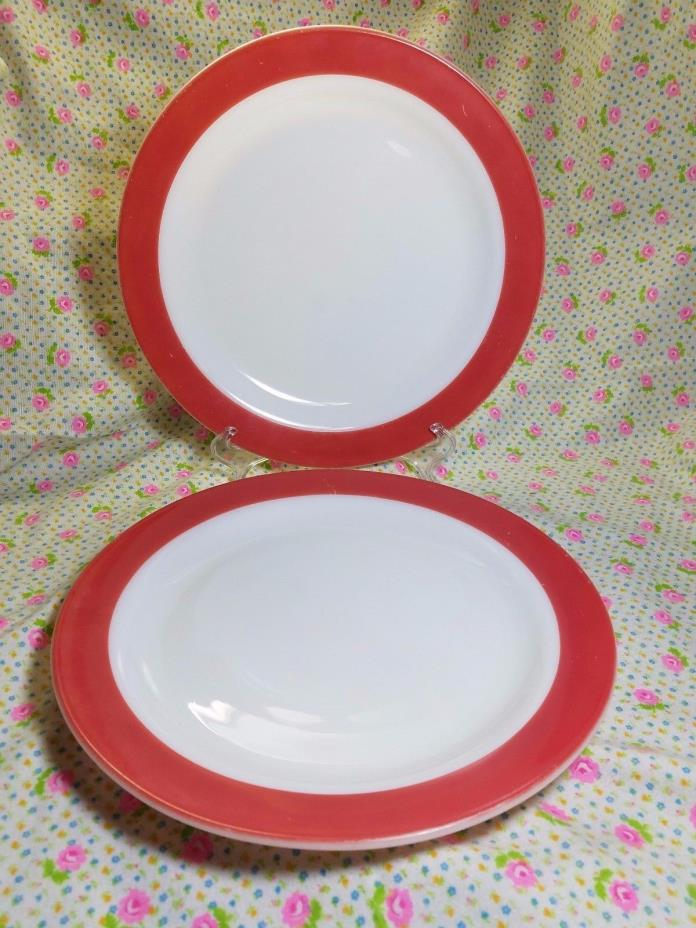 "Set of 2 Pyrex Flamingo Pink Dinnerware Round 12"" Platter or Chop Plate Vintage"