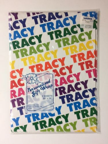 Personalized Gift Wrap Paper  Rainbow Pride Tracy Vintage 1980s  2 Sheets 20x28