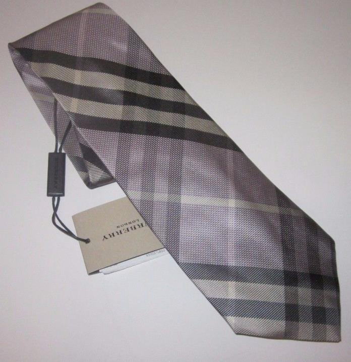 BURBERRY London CLINTON Neck Tie PALE THISTLE Made In Italy Plaid 100% Silk NWT