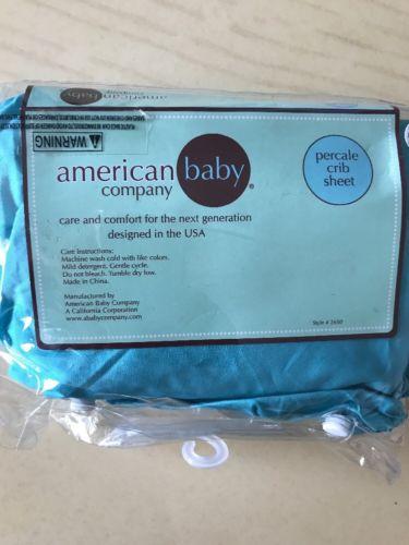 American Baby Percale Crib Sheet 100% Cotton  Turquoise Boy Girl