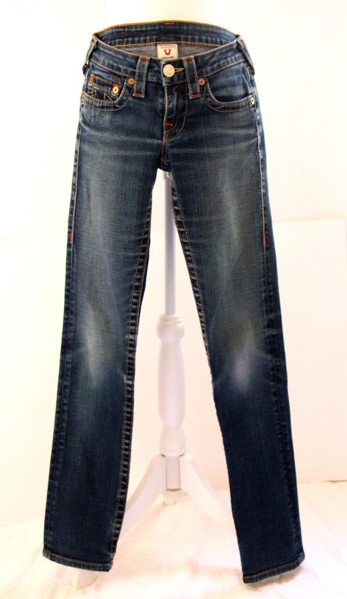 True Religion Women's Denim Jeans Sz 24 Stevie Straight Leg Medium Wash 32