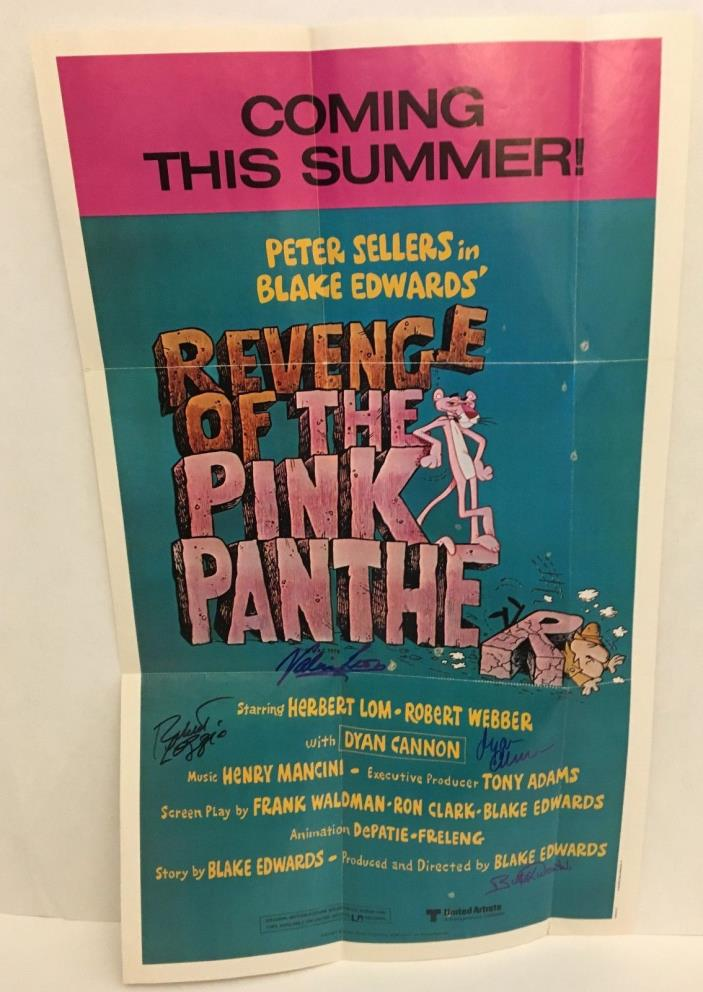 REVENGE OF THE PINK PANTHER CAST (4) PSA SIGNED 12X20 POSTER JSA COA DYAN CANNON