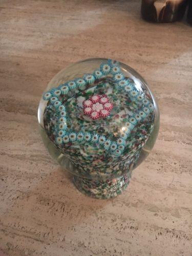 Vintage Murano Millefiori Glass Mushroom Paperweight