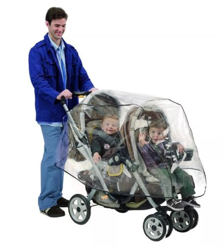 Nuby tandem stroller weather shield / double stroller rain cover, New