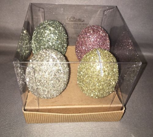 NEW Set of 4 Pottery Barn Easter GERMAN GLITTER EGG PLACE CARD HOLDERS
