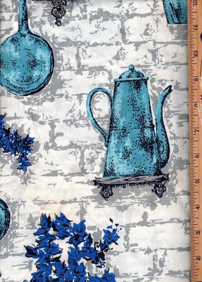 Vintage Blue Tea Pot Kitchen Cotton Fabric 3 3/4Yrds 36