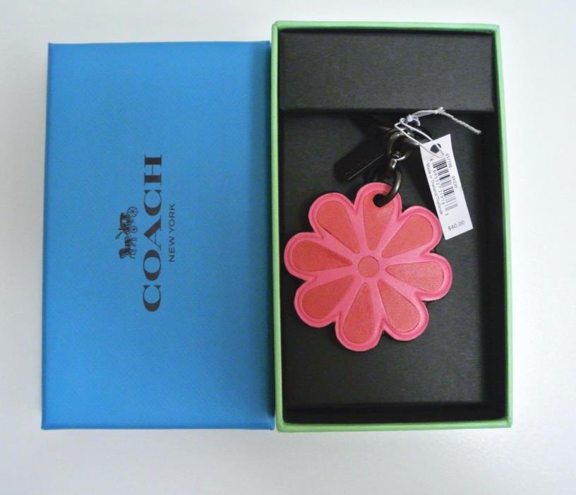 NIB Coach leather flower bag fob charm key  65719B 65719 Dahlia Pink