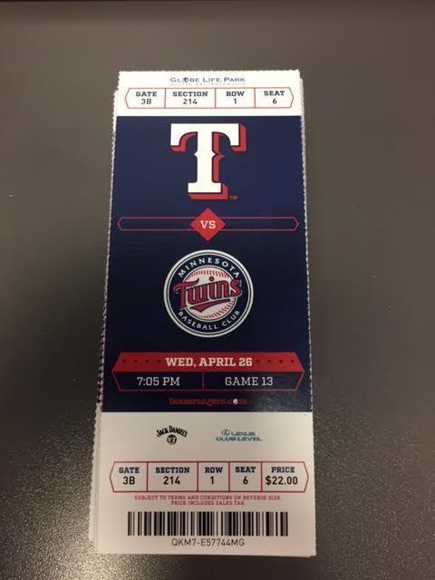 Texas Rangers Minnesota Twins MINT Season Ticket 4/26/17 2017 MLB Stub
