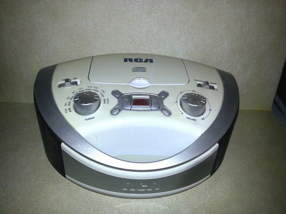 RCA RCD331WH Portable CD/AM/FM/Radio Boombox Radio w/adapter FREE SHIP