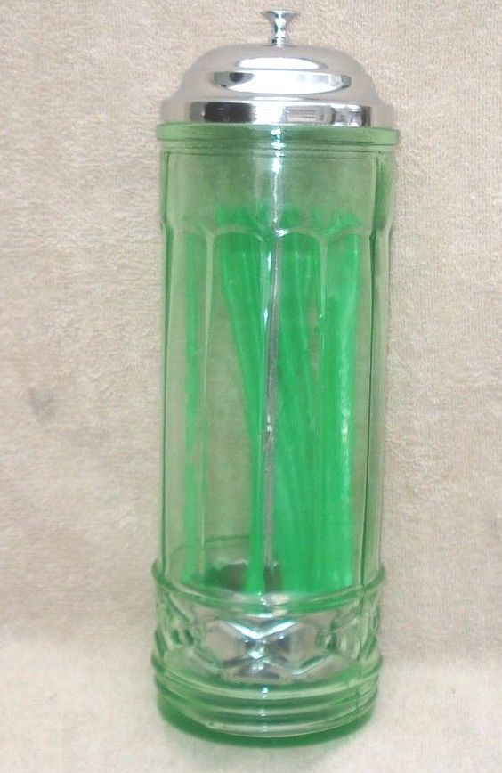 NEW DEPRESSION STYLE GREEN  NO TOUCH GLASS STRAW HOLDER 11''X 3,5'' WITH STRAWS
