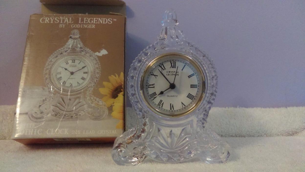 Crystal clock Godinger mantel glass crystal clock petite gothic