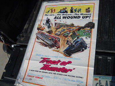 Vintage Movie Poster 1967 Track of Thunder 1963 Chevy Ford Race Cars Dirt Oval