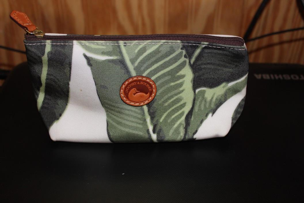 Dooney & Burke  White/Green canvas/ leather  Tropical  Medium makeup/access bag