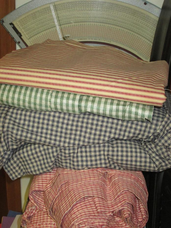 Primitive Cotton Stripe Gingham Ticking Unused fabric Bedding Quilt 18LB!!