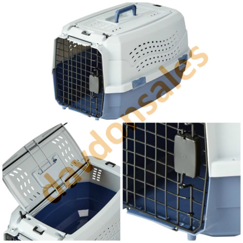 Pet Carrier Travel Taxi Cage Cat Dog Top Crate Kennel Two Door Inch Luggage Safe