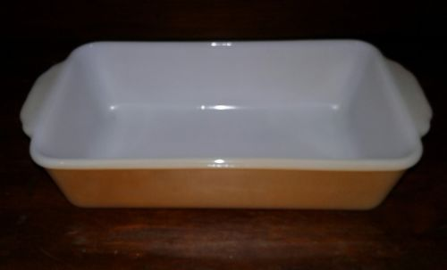 Fire King Peach Luster Bread Loaf Pan 1Gt #409