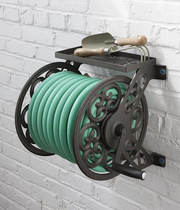 Water Hose Reel Wall Mount Decorative Garden Lawn Home Manual Crank Metal 125 Ft