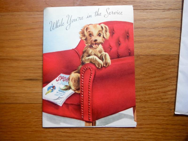 UNUSED Vintage greeting card MILITARY SERVICE WISHES HELLO w envelope