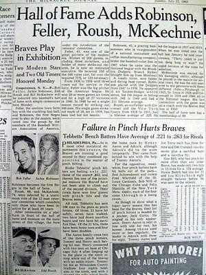 1962 newspaper JACKIE ROBINSON & Bob Feller inducted into BASEBALL HALL OF FAME