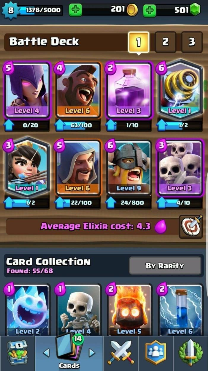 clash royal lvl 8 with 2 legendary(sparky and Princess )and name change 500 gems