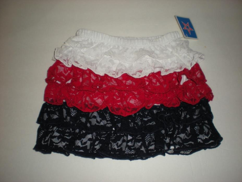 Red, White, & Blue Lace Tiered Girls Skirt Size 3T Elastic Waist NEW with Tags