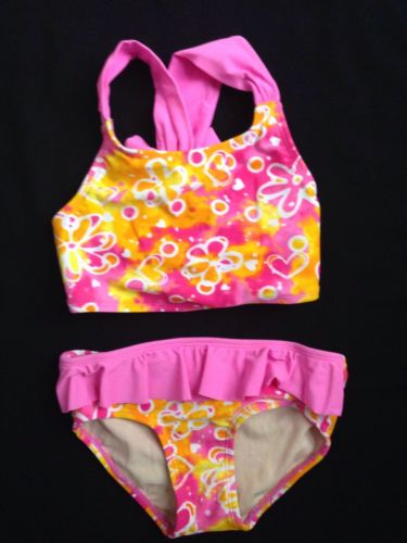 Toddler Girl pink swimsuit size 4T floral two piece