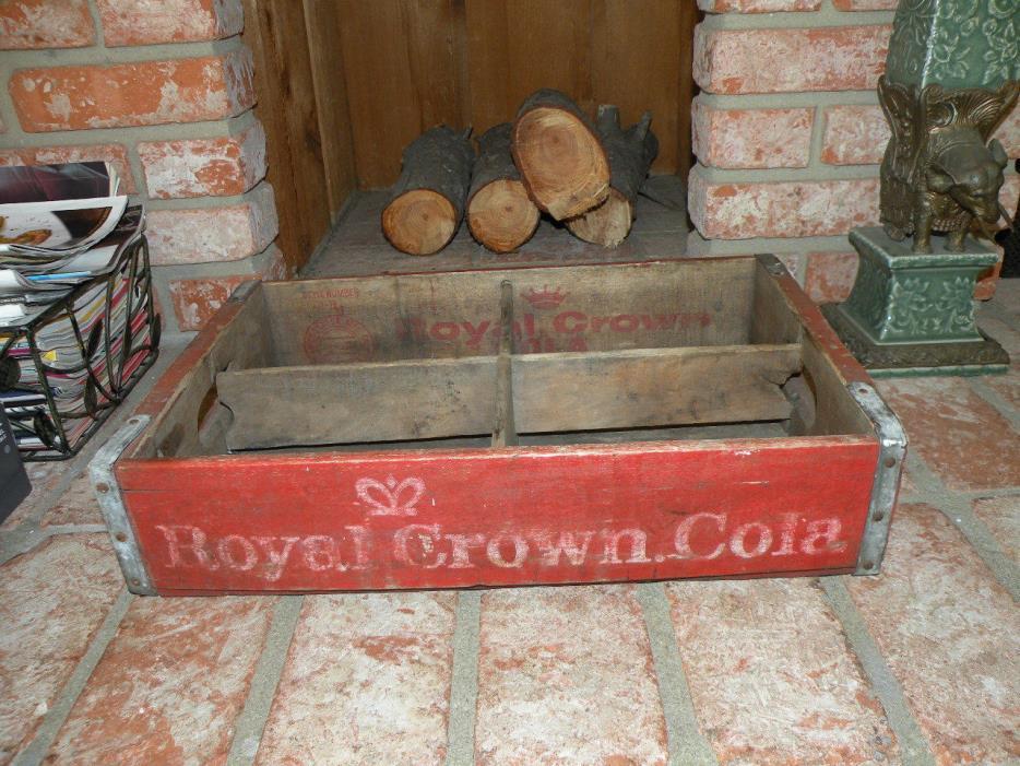 Soda Pop Crate Wood & Metal Box Beverage Royal Crown RC Cola Woodstock MFG S.C.