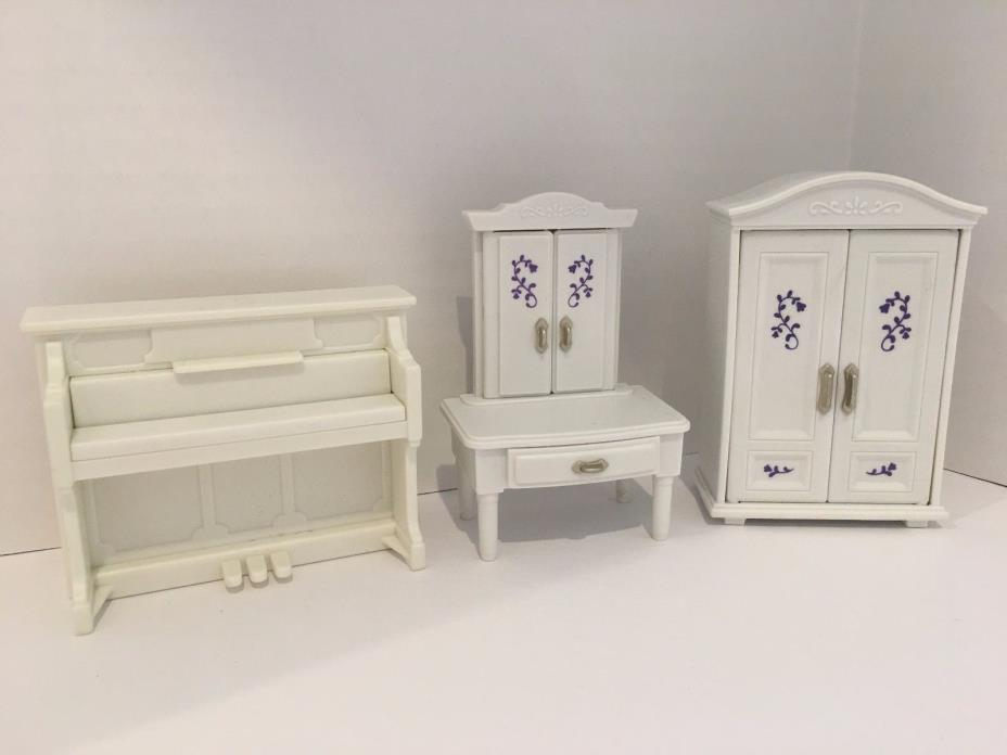 Calico Critter Dollhouse Living Room Bedroom Furniture White Piano Vanity