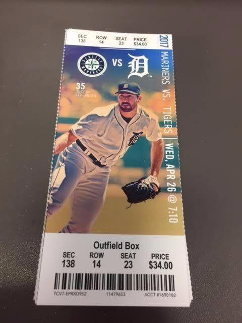 Detroit Tigers Seattle Mariners MINT Season Ticket 4/26/17 2017 MLB Stub