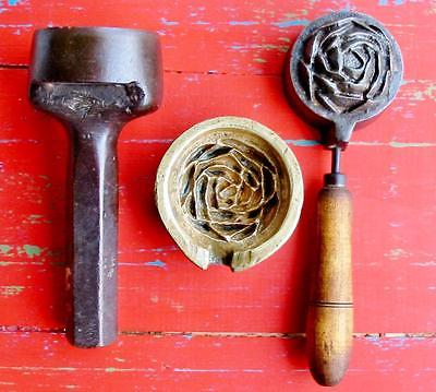RARE Vintage Millinery Rose Rosebud Flower Iron Tool Mold Brass Antique 3 Pc.