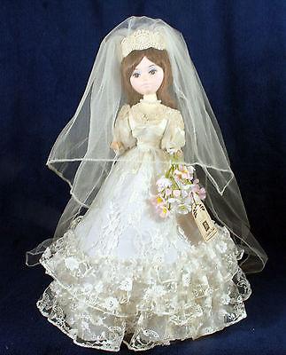 Vintage Bradley Dolls Bride Wedding Figurine Big Eyes Korea Lace Dress 1970s 16