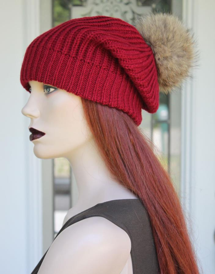* NEW * RED SLOUCH TOQUE / HAT w/ NATURAL COYOTE FUR POM POM