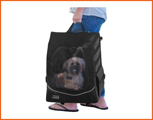 Rolling Backpack Pet Carriers For Small Dogs With Wheels Car Seats Gear Black