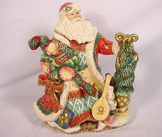 Fitz & Floyd Santa Christmas Wreath Teapot 26 oz 1996 Rare
