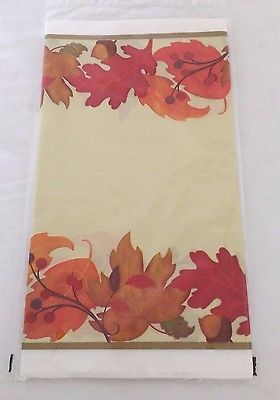 Festive Fall Plastic Tablecloth, Autumn, Thanksgiving, NIP