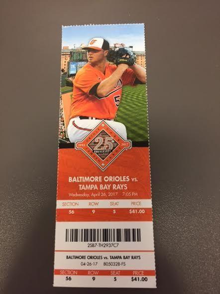 Baltimore Orioles Tampa Bay Rays MINT Season Ticket 4/26/17 2017 MLB Stub