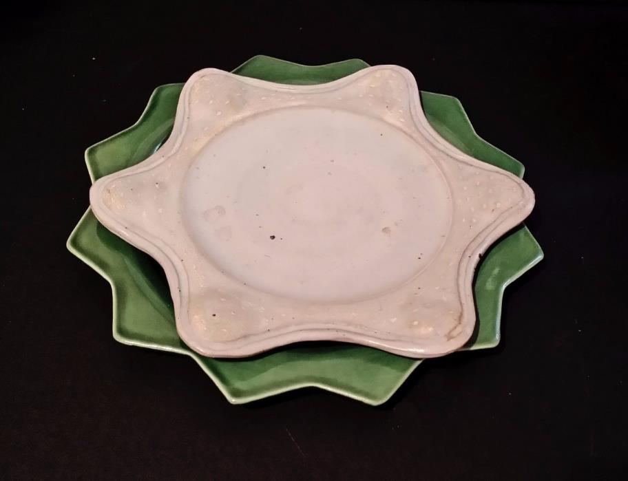 Fun Collectible Ceramic Dishes_Green and White Stars