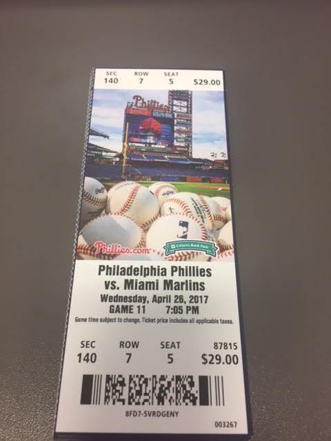 Franco HR Philadelphia Phillies Marlins MINT Season Ticket 4/26/17 2017 MLB Stub