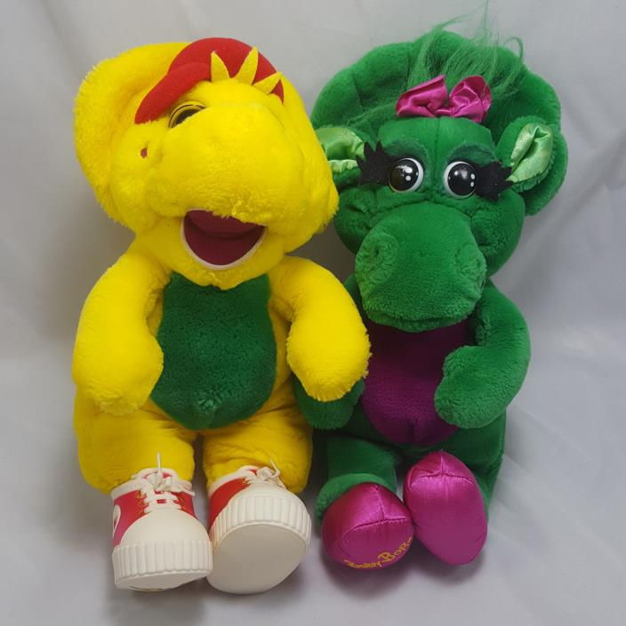 Vintage Baby Bop & BJ Plush Barney Toys 1992 Dakin Lyons 12in Stuffed Animals