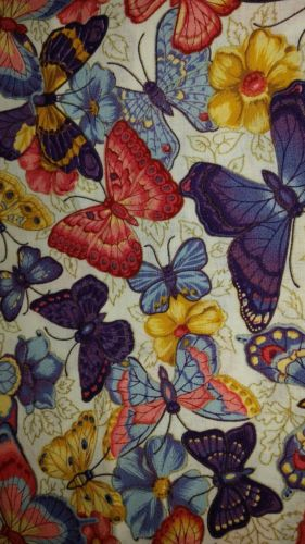 5 YDS Cotton Quilting Fabric Colorful Butterflies VIP Cranston 2009