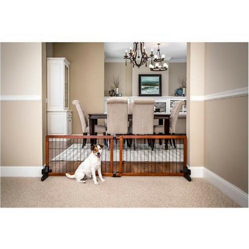 ELEGANT Free Standing Dog Gate WOOD FENCE Adjustable -Medium Pet- FREE SHIPPING!