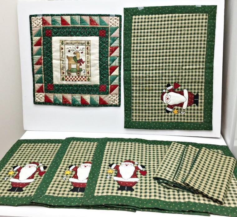 Vintage Set Mixed Lot 4 Christmas Santa Placemats 3 Napkins 1 Square 14