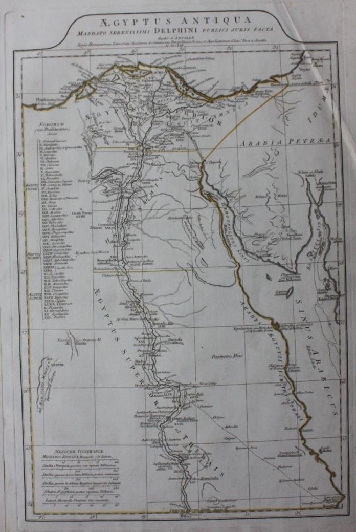 Original antique map ANCIENT EGYPT, NILE, RED SEA, D'Anville, 1795