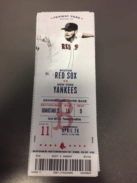 Judge HR - Boston Red Sox Yankees MINT Season Ticket 4/26/17 2017 MLB Stub