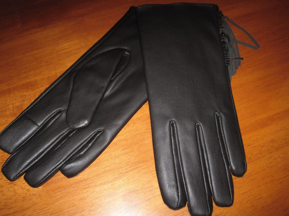 NWT $40 MIXIT black faux leather touchtech gloves with fringe size M/L(V31)