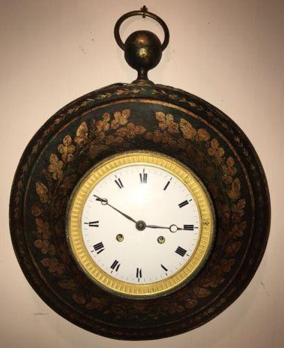 Antique Toleware 19c Wall Clock