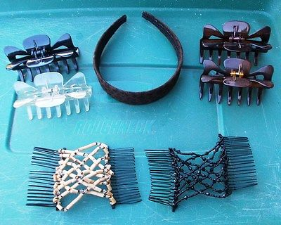 ~~ Lot of 11 Hair Clips, Combs, Headbands ~ 2 -EZ Combs, 5 -Claw Clips & more ~~