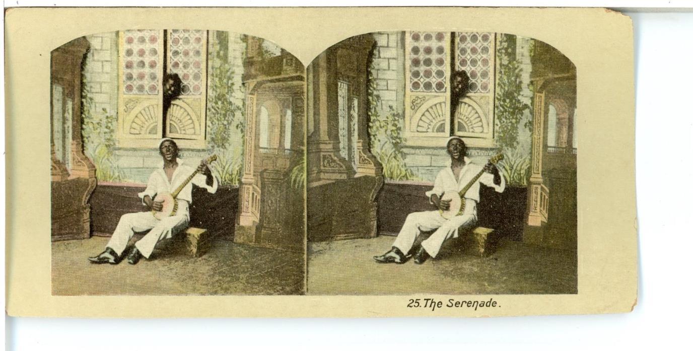 BLACK AMERICANA, The Serenade, Man Playing a Banjo --Stereoview Lithograph