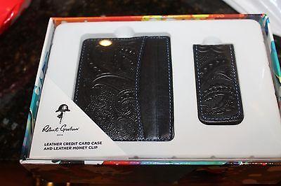 Robert Graham Leather Wallet & Money Clip Black w Paisley emboss NEW $148