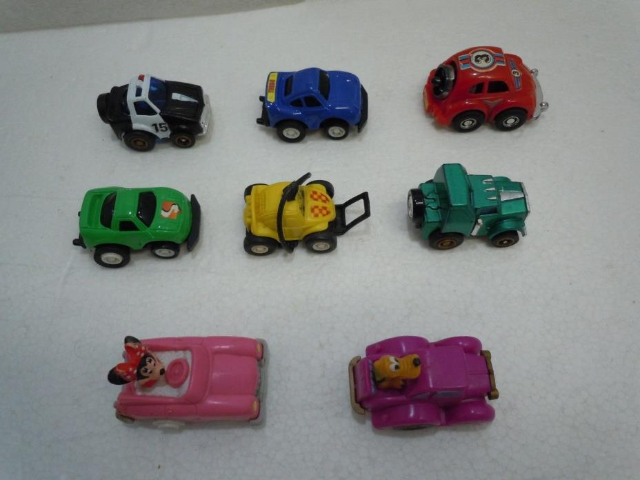 MINI PLASTIC PULL-BACK TOY CAR LOT Vintage Disney Russ Nomuratoy Tomy